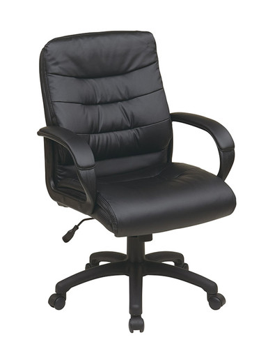 Office Star Mid Back Faux Leather Executive Chair with Padded Arms FL7481-U6