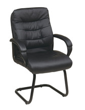 Office Star Faux Leather Visitors Chair with Padded Arms and Sled Base FL7485-U6