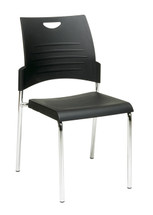 Office Star Straight Leg Stack Chair with Plastic Seat and Back (2 Per Carton)