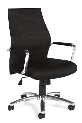 OFFICES TO GO-Mesh Seating-Mesh Back Pneumatic Tilter Managers Chair w/chrome arms and padded armrests OTG11657-MS20