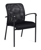 OFFICES TO GO-Guest Seating-Mesh back guest chair. Molded armrests. Mesh fabric back and seat. 4-legged. OTG11760-MS20