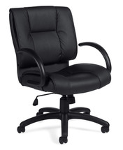 OFFICES TO GO-Leather (Luxhide*) Seating-Mid back tilter chair with arms. OTG2701-BL20