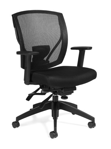 OFFICES TO GO-Mesh Seating-Executive chair with arms. Infinite tilt lock. Adjustable lumbar height. OTG2803-MS20