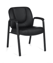 OFFICES TO GO-Stack & Guest Seating-Leather Guest Chair w/upholstered armrests OTG3915-BL20