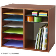 Safco Wood Adjustable Literature Organizer - 12 Compartment