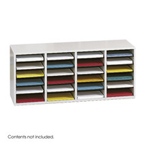 Safco Wood Adjustable Literature Organizer, 24 Compartment