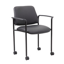 Boss Square Back Diamond Stacking Chair with Arm and Casters In Black Caressoft