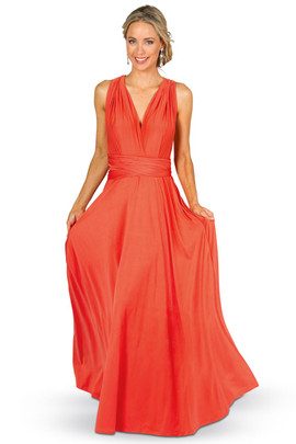Convertible Bridesmaid Dress Maxi - Tangerine