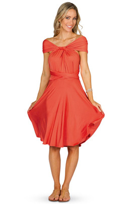 Convertible Bridesmaid Dress Midi - Tangerine