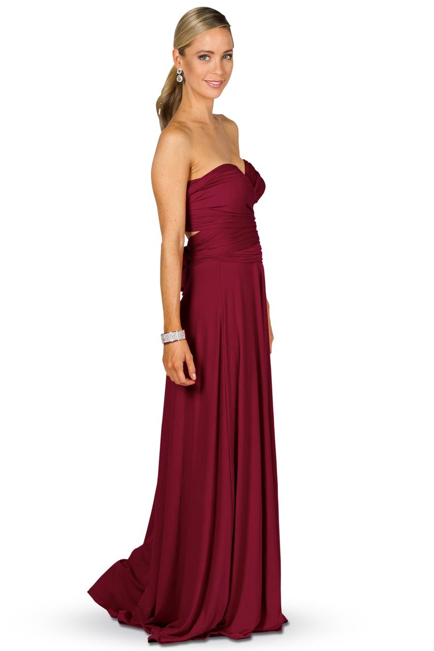 Convertible Bridesmaid Dress Maxi Burgundy Bridesmaids Etc
