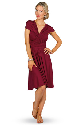 Convertible Bridesmaid Dress Midi - Burgundy