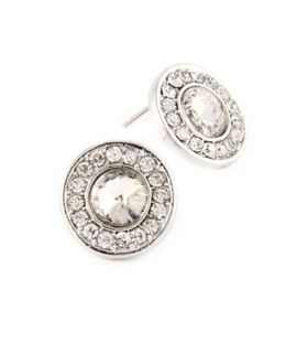 Silver Button Earrings