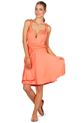 Convertible Bridesmaid Dress Midi - Peach