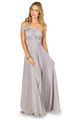 Convertible Bridesmaid Dress Maxi - Silver