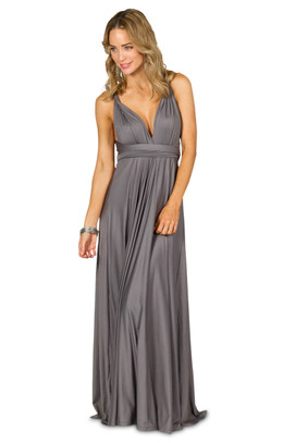 Convertible Bridesmaid Dress Maxi - Pewter
