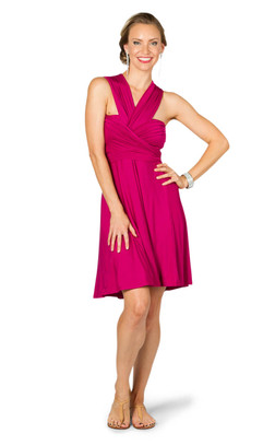 Convertible Bridesmaid Dress Midi - Fuchsia