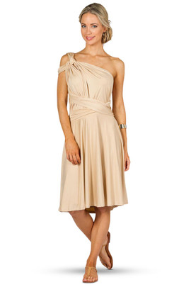 Convertible Bridesmaid Dress Midi - Champagne