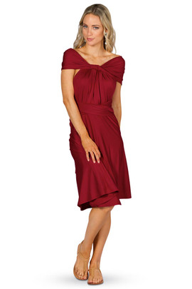 Convertible Bridesmaid Dress Midi - Sangria