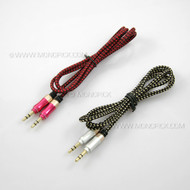 1M Nylon 3.5mm Aux Headphone Earphone Audio Cable Male to Male Stereo Audio Adapter Extension Input Cord Lead