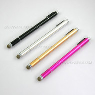3 in 1 Metal Mesh Fiber Transparent Point Tip Touch Screen Stylus Pen for mobile phones, tablets