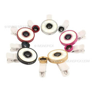 6in1 Universal Multiple Wide Angle Fish Eye Macro Clip On LED Fill Selfie Camera Lens Kit For Mobile Phones