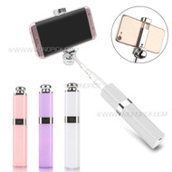 Girly Lipstick Design Mini Selfie Stick Monopod Extendable Wire/Bluetooth Handheld Shutter for Mobile Phones