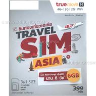 TrueMove H Travel SIM Asia 6GB/8 Days Traveller Roaming Data PAYG Prepaid SIM