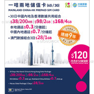 China Mobile Hong Kong Mainland China 2GB/30 Days Prepaid Roaming Voice Data SIM