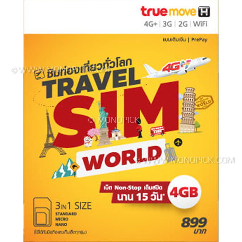 Truemove H Travel Sim World Europe Usa 4gb 15 Days Roaming Data Payg