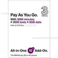 Three 3 UK 5GB/30 Days Go Roam Roaming Pay As You Go PAYG Prepaid Voice Data SIM