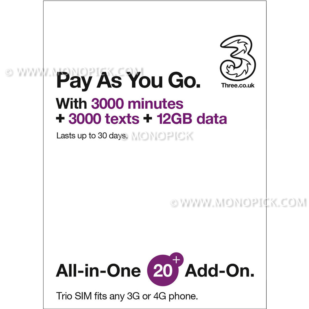 three pay as you go top up deals