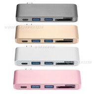 5in1 USB-C Type C 3.1 to USB Hub OTG Cable micro SD SDXC SDHC Card Reader Adapter for Macbook Pro