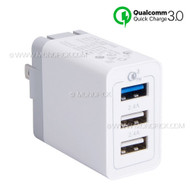 6A 30W 3 Port USB USB-C Type C Wall Charger Station Power Adapter Fast Charging Quick Charge 3.0 for Mobile Phones