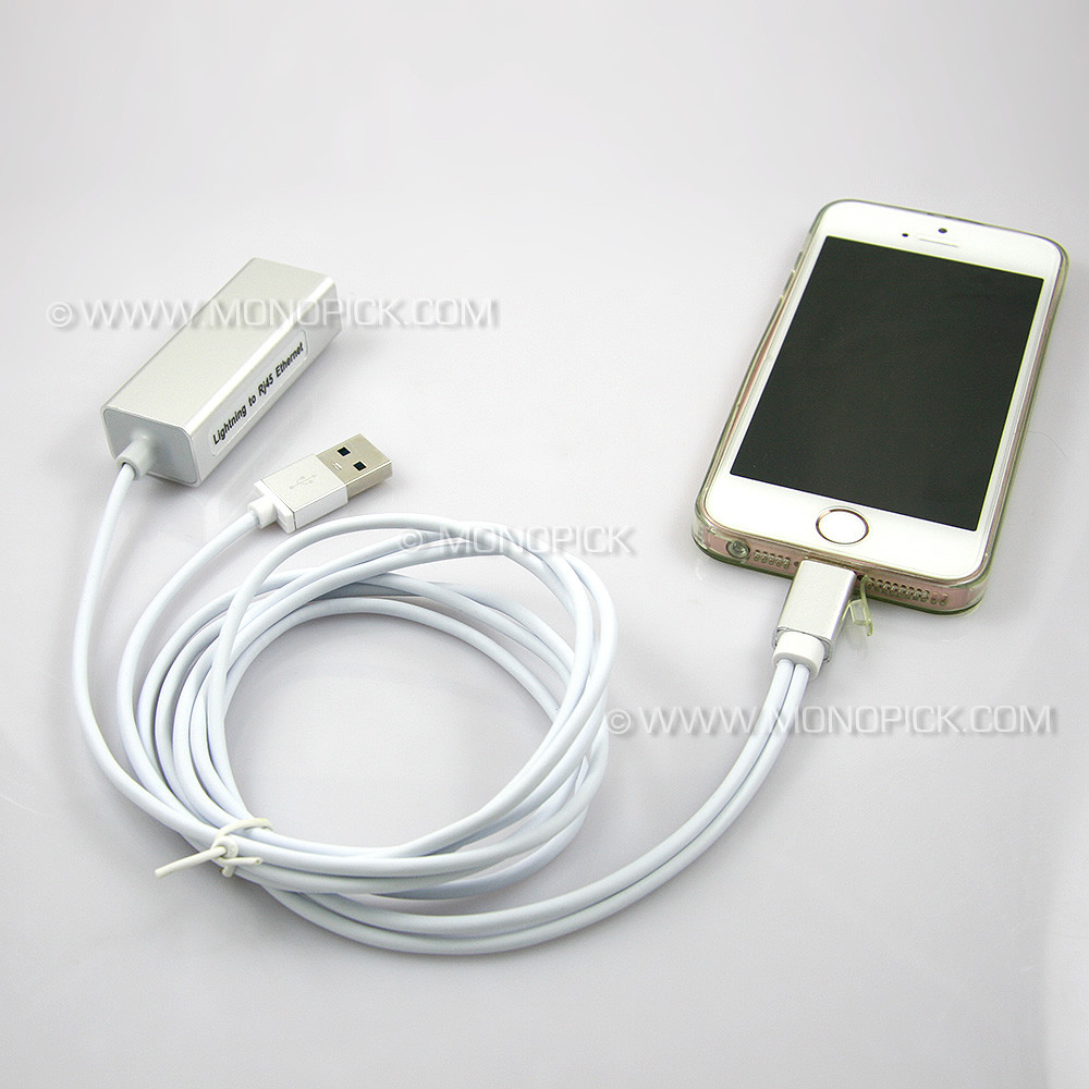 For iPhone IPAD to RJ45 Ethernet Lan Adapter Wired Network Cable USB Camera Kit