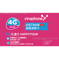 Vinaphone Happy Tour Tourist 10GB/10Days 4G Vietnam Local Prepaid Voice Data SIM