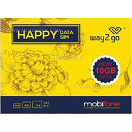 MobiFone Way2go 10GB/30 Days 4G/3G Vietnam Tourist Local Prepaid Happy Data SIM