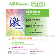 SmarTone ValueGB China Hong Kong Macau 8GB/365Days Data Roaming PAYG Prepaid SIM