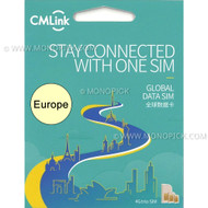 China Mobile CMLInk UK Europe Balkans 15GB/30 Days Data Roaming PAYG Prepaid SIM