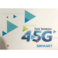 Turk Telekom 4GB/30 Days 4G/3G Turkey Local Voice Data Pay As You Go Prepaid SIM