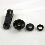 Universal Clip On 3in1 Fish Eye, Wide Angle, Macro Glass Camera Lens For Mobile Phones