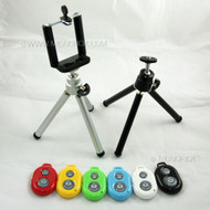 Selfie Mini Portable Mobile Tripod, Clip Bracket Holder Mount, Bluetooth Remote Control Shutter SET for mobile phones