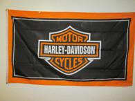 NOS 1980's Vintage Black Harley Davidson Dealer Flag
