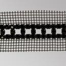 3 row Fancy Metal Set Jet Banding on Black Netting, Black Plating