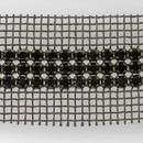 3-row Extra Chaton Rose Flat Back Banding Crystal, Black Plated with Black netting on both sides