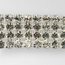 4-row LARGE ss29 Machine Cut Metal Banding, Crystal, Silver Plated, on White Net, no netting on the