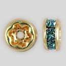 4.5mm Rhinestone Rondelle Aquamarine, Gold Plated