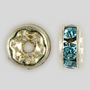4.5mm Rhinestone Rondelle Aquamarine, Silver Plated