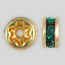 4.5mm Rhinestone Rondelle Emerald, Gold Plated