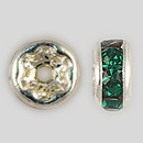 4.5mm Rhinestone Rondelle Emerald, Silver Plated