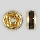 4.5mm Rhinestone Rondelle Garnet, Gold Plated
